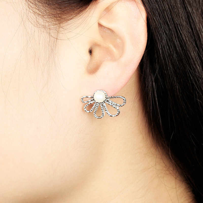 Gray pearl Crystal Flower Stud earring For Women fashion Jewelry Gold Silver earrings gift for party best friend small earrings
