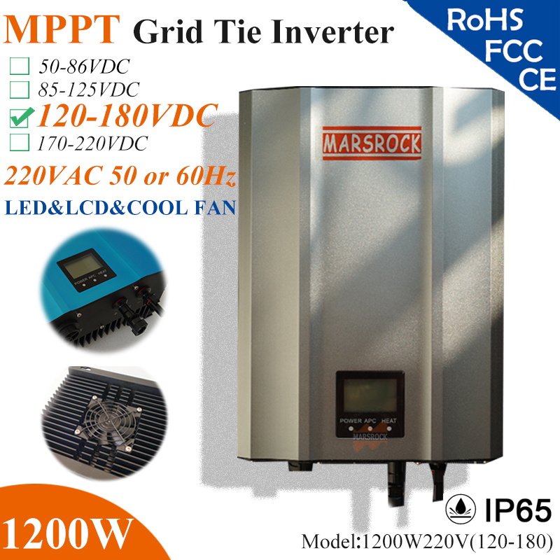 1200W MPPT solar Grid Tie Micro Inverter with IP65 waterproof,120-180VDC,220V(190-260VAC),LED&LCD display for solar panel system 5000w single phrase on grid solar inverter with 1 mppt transformerless waterproof ip65 lcd display multi language