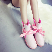 2016 winter new style women ankle shoes candy color belt thickening short snow  boots with bowknot warm snow boots