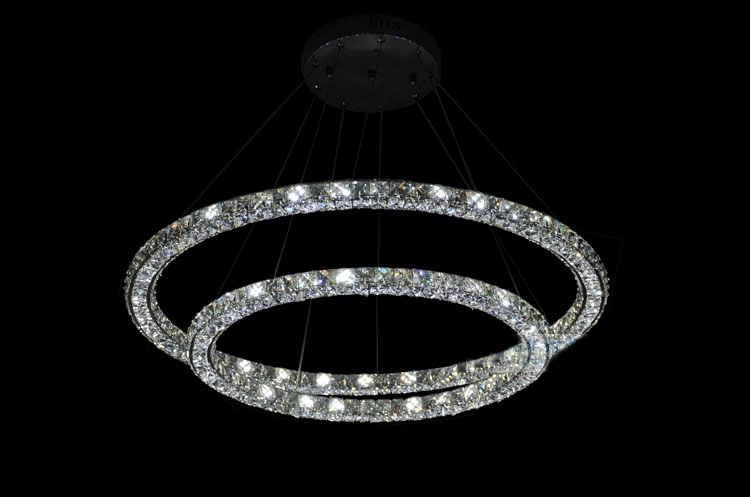 Phube Lighting LED Ring Pendant Light Modern Crystal Pendant Light 3 Sides Mounted k9 Crystal included Remote Control !
