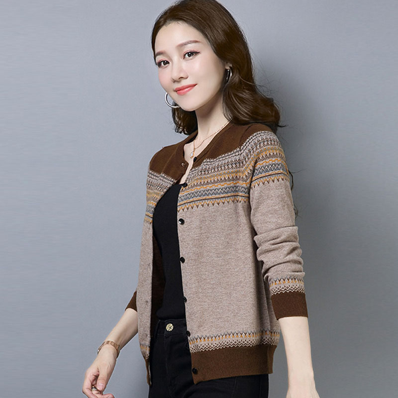 Short Women Fall Knitted Cardigan O-Neck Ladies Long Sleeved Sweater Fashion Knit Warm Striped Cardigans Female Knitwear