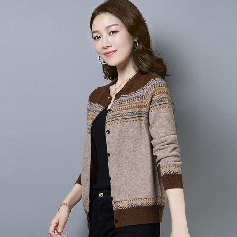 Short Women Fall Knitted Cardigan O-Neck Ladies Long Sleeved Sweater Fashion Knit Warm Striped Cardigans Female Knitwear