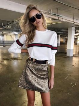 Women Striped Print Hoodies Sweatshirt 2018 Spring Harajuku Loose Pullover Long Sleeve Female Tops Tracksuit 1