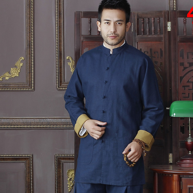 Navy Blue&Gold Chinese Traditional Men's Two side Cotton Linen Kung Fu Jackets Wu Shu Clothing Coats M L XL XXL 3XL