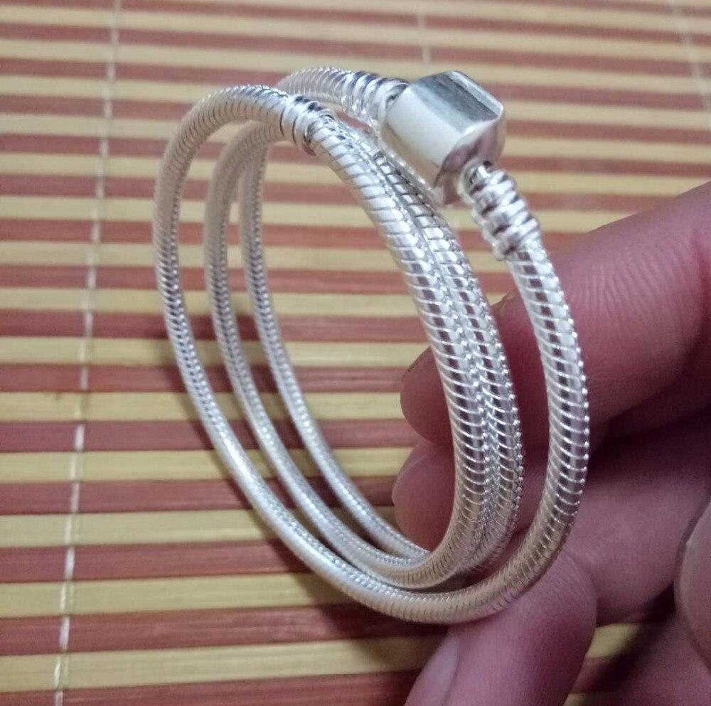 Livraison gratuite 925 Sterling Argent Serpent Chaîne Bracelet Collier Avec Clips Appropriés Pour Style Charmes Sur Vente