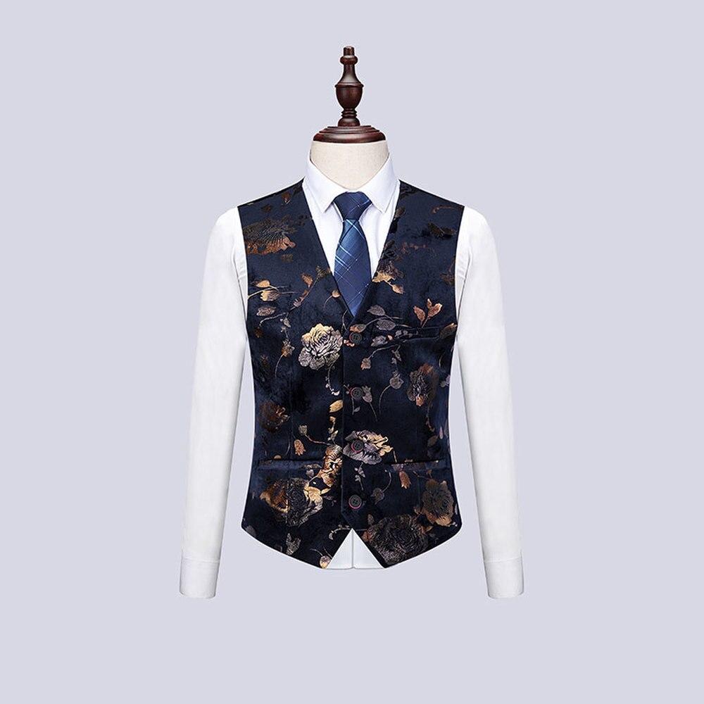 Traje de hombre de 3 piezas de moda de una sola flor de Breasted impreso traje de esmoquin para hombre 6XL de alta calidad Delgado trajes de novio de boda-in Trajes from Ropa de hombre    2