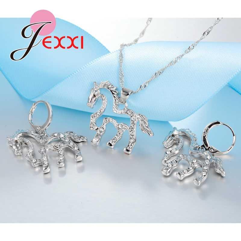 Tropfen Verschiffen Großhandel Strass 925 Sterling Silber Braut Schmuck Set Für Frauen Pferd Halskette Ohrring Set Geschenk