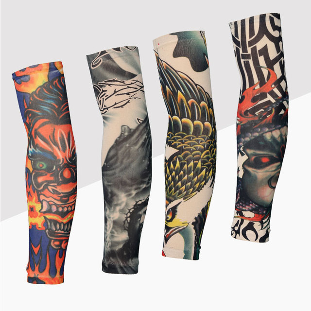 e4dad69973 20 Colors 2pcs Cycling Sports Tattoo UV Block Cool Arm Sleeves Armwarmer  Cover Sun Protection Skull Bike Bicycle Arm Warmer
