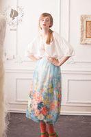 LYNETTE S CHINOISERIE Summer Original Design Women Vintage Silk Rustic Floral Print Elastic Waist Water Blue
