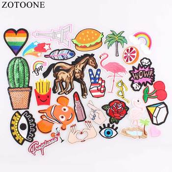 ZOTOONE 1PCS Unicorn Sequin Patch Heart Horse Embroidery Patch Set Fruit Iron on Cartoon Patches For Clothes Stickers Kids Jeans image