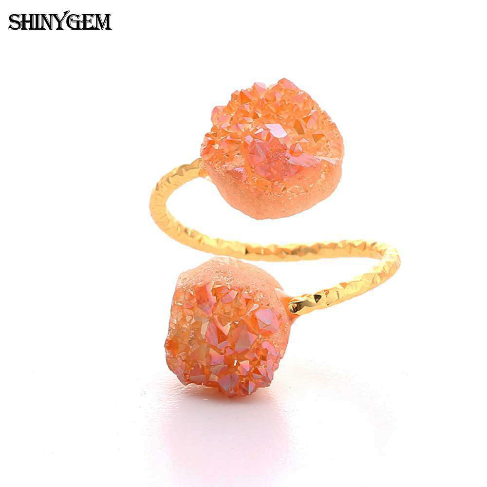 ShinyGem არარეგულარული Druzy Opal Rings - მოდის სამკაულები - ფოტო 3