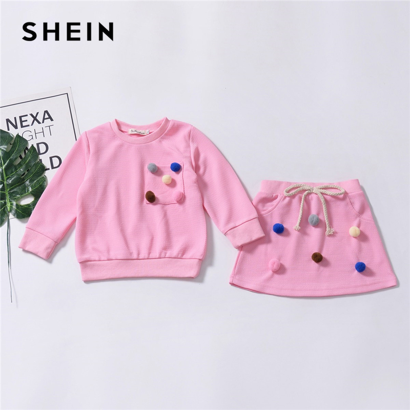 SHEIN Kiddie Pink Knot Pom Pom Top With Skirt Suit For Toddler Girls Clothing 2019 Spring Fashion Cute Kids Clothes Girl Set off shoulder pom pom trim top with shorts