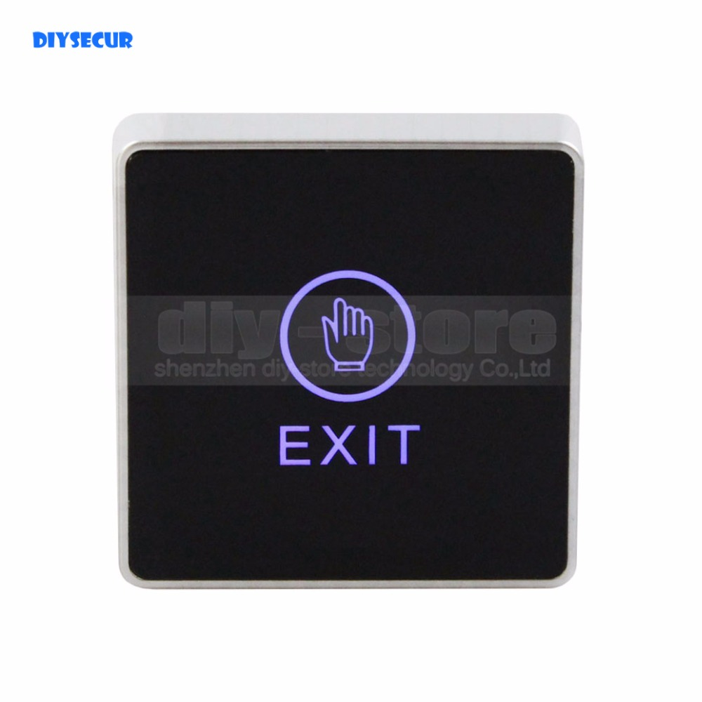 DIYSECUR Infrared Contactless Bule Backlight Touch Exit Button \ Door Release Switch for Access Control infrared door exit button touch release push switch contactless bule backlight for access control systemc electronic door lock