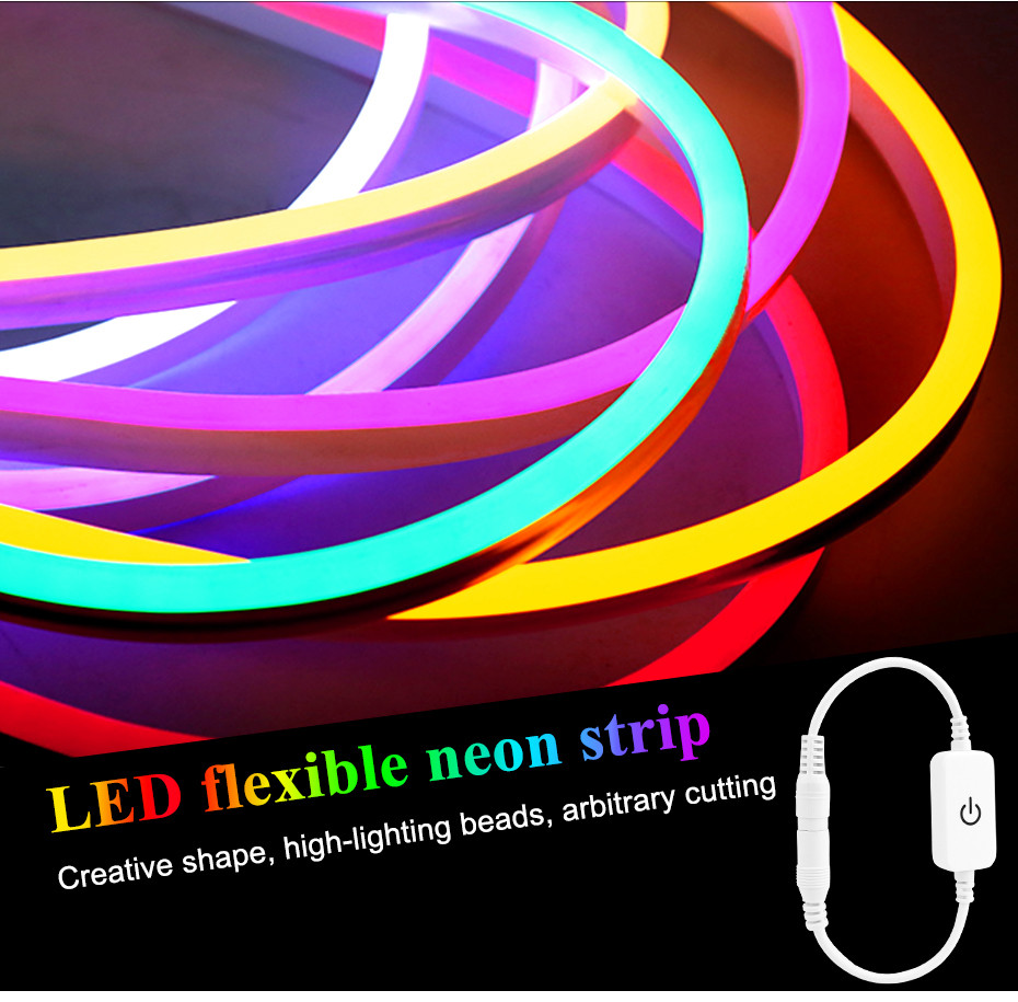 New Led Flexible Light Strip Outdoor Waterproof Neon Line Lamp Living Room Ceiling Touch Dimming 2835 Patch Light Strip 12v B2