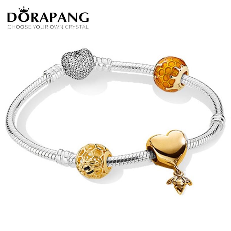 DORAPANG 100% 925 Sterling Silver New Bracelet Suit Love And Bees 18 Gold Color Luxury Bracelet Suit Suitable DIY Gift dorapang 100