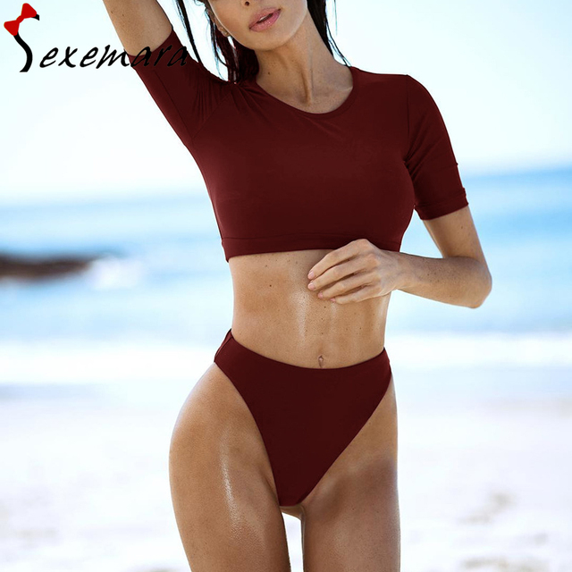 4aafe509f sexy yellow push up bikini set high waist swimsuit short sleeve crop top  bikinis 2019 mujer beach bathing suit women swimwear