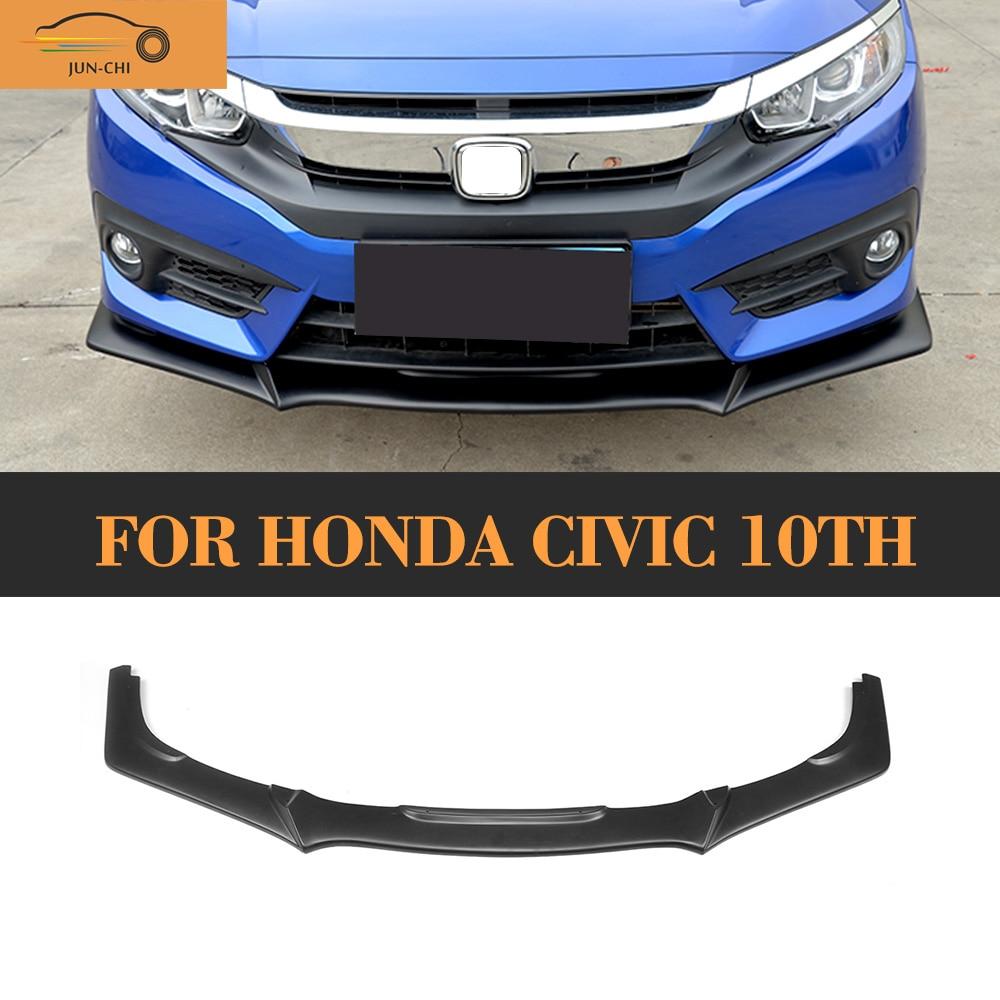 Matt Black Front Lip Spoiler Case For Honda CIVIC 10TH 2016 2017 Type R Style DX EX EX-L LX Touring Turbo PU ex 156 sbr suppressor flash hider for m4 black
