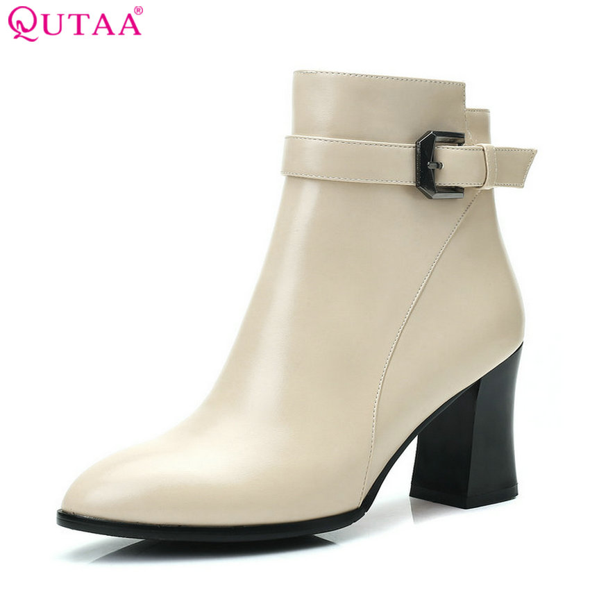 QUTAA 2018 Women Ankle Boots Spring and Autumn Fashion Zipper Square High Heel Pointed Toe Westrn Style Women Boots Size 33-43 nemaone 2018 women ankle boots square high heel pointed toe zipper fashion all match spring and autumn ladies boots