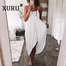 XURU new solid color knit loose irregular dress summer hot womens long