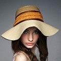 2016 новых леди солнца летом соломенная шляпа женщины сложить широкими полями элегантные путешествия Hat новый головной убор B-1987