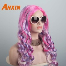 Anxin Long Curly Colorful Candy Color Synthetic Wig Unicorn Accessories Purple Pink For Girls Women Cosplay Party Anime