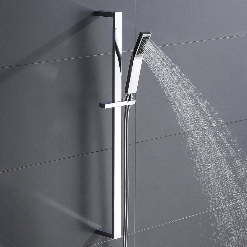 Square Brass Adjustable Lifting Sliding Bar With Shower Holder Wall Mount Slide Bar Shower Set With Shower And Hose Chrome