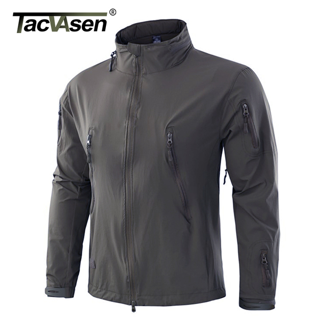 TACVASEN NEW Military Tactical Jacket Coat Men's Autumn Windbreaker Waterproof Soft Shell Jacket Hidden Hood Outwear TD-YWWS-008
