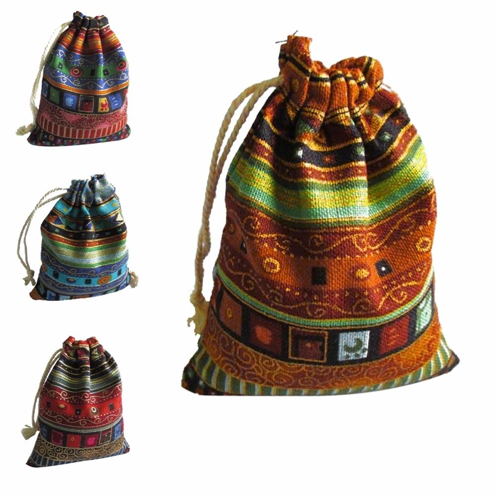 10 Stücke Baumwolle Schmuck Taschen 10 Stücke Ethnische Geschenk Beutel Streifen Tribe Tribal Kordelzug Taschen Weihnachten Schmuck Beutel 9,5*12 Cm