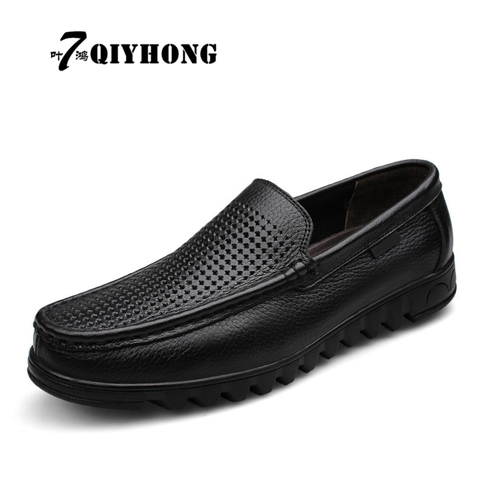 Strengthening Sinews And Bones Qiyhong Mens Shoes Business Casual Shoes Hollow Mens Sets Of Feet The First Layer Of Leather Mens Shoes Large Size 37-48