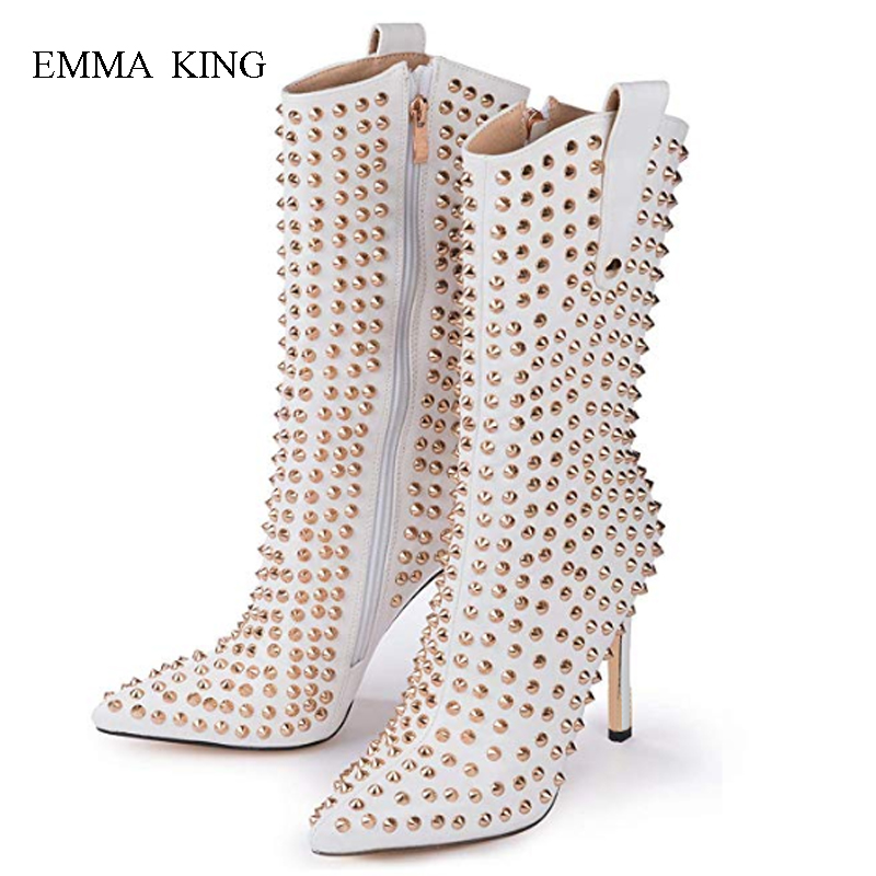 Autumn Winter Pointed Toe Stilettos Mid-Calf High Heels Boots Zipper Rivets Studded Women Boots Zapatos De Mujer Ladies ShoesAutumn Winter Pointed Toe Stilettos Mid-Calf High Heels Boots Zipper Rivets Studded Women Boots Zapatos De Mujer Ladies Shoes