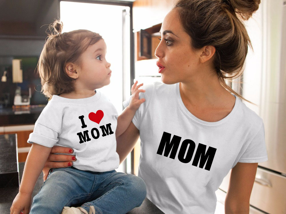 Mother Daughter Tshirt Love Mom Mommy And Me Clothes Family Matching Outfits Look Mum Mama And Daughter T Shirts Dress Clothing