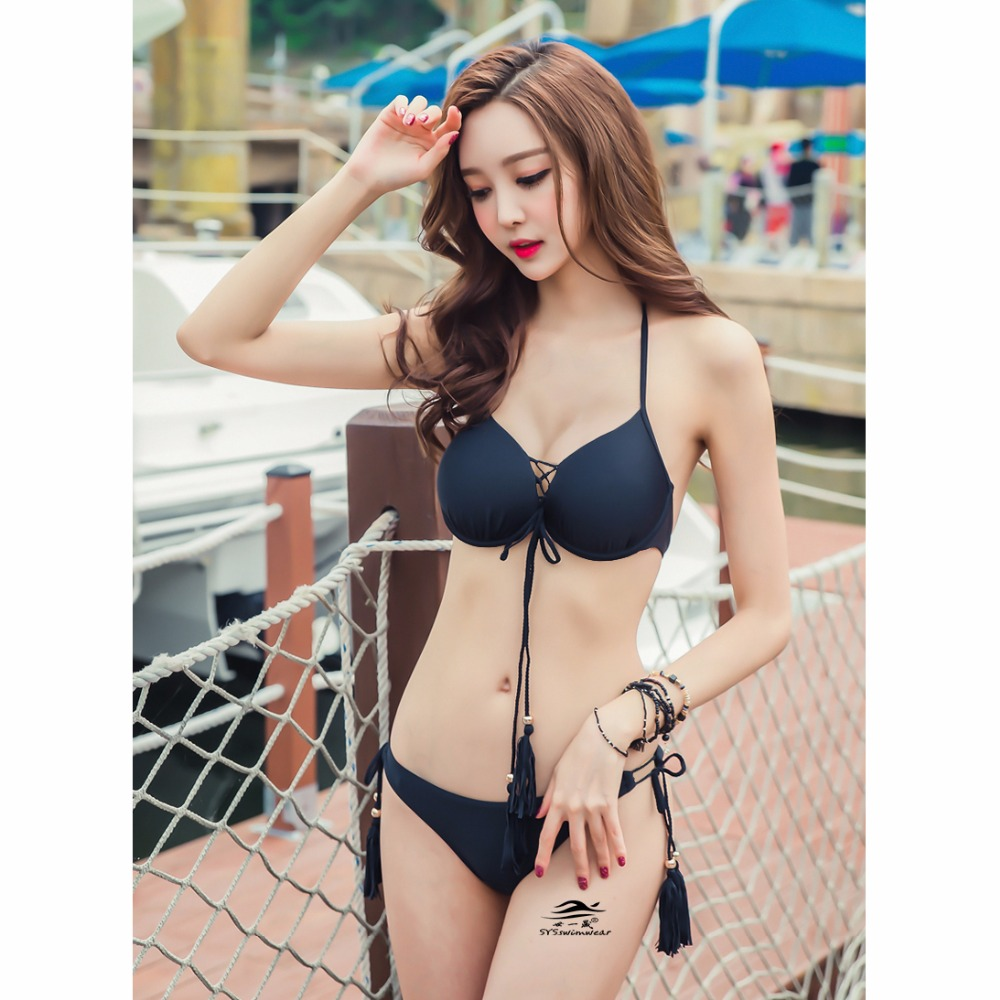 3 Pieces Solid Braided Rope Sexy Women Bikini Swimwear 1