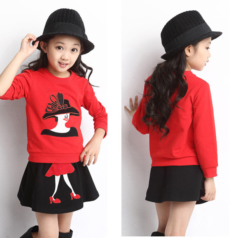 girl clothing set autumn spring 2016 new fashion red cartoon t shirt+black skirts princess kids clothing sets for girls clothes