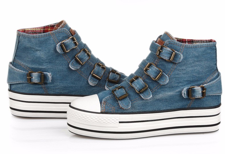 High Top Women Denim Shoes Espadrilles 2016 Fashion Autumn Hide Wedges Canvas Womens Shoes Lace Up Casual Shoes Sapatilha YD135 (36)