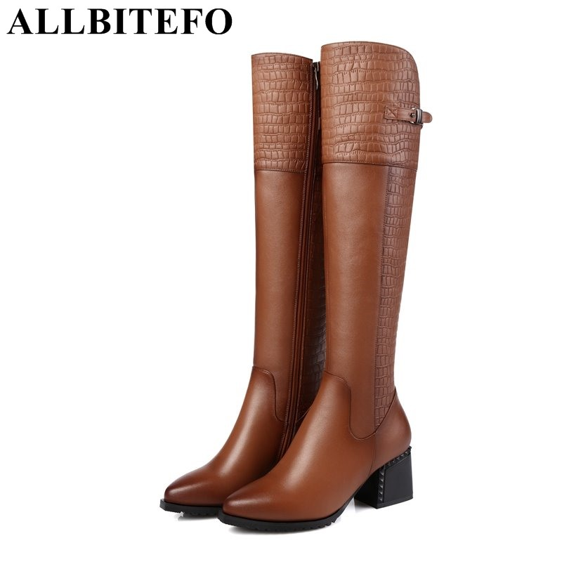 ALLBITEFO EURO 34 42 pointed toe genuine leather PU women knee high boots high heel shoes
