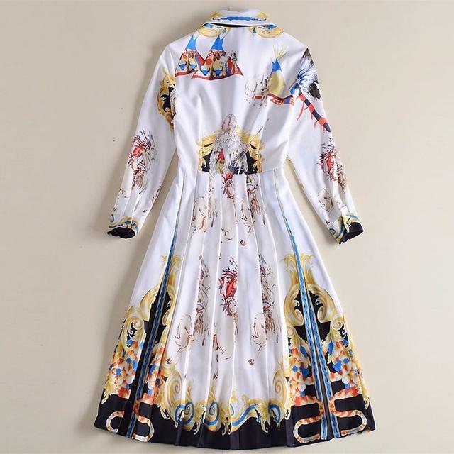 76c9f2a06b38 Women Spring Party Dress Long Sleeve Print Casual Beach Dress Vestidos