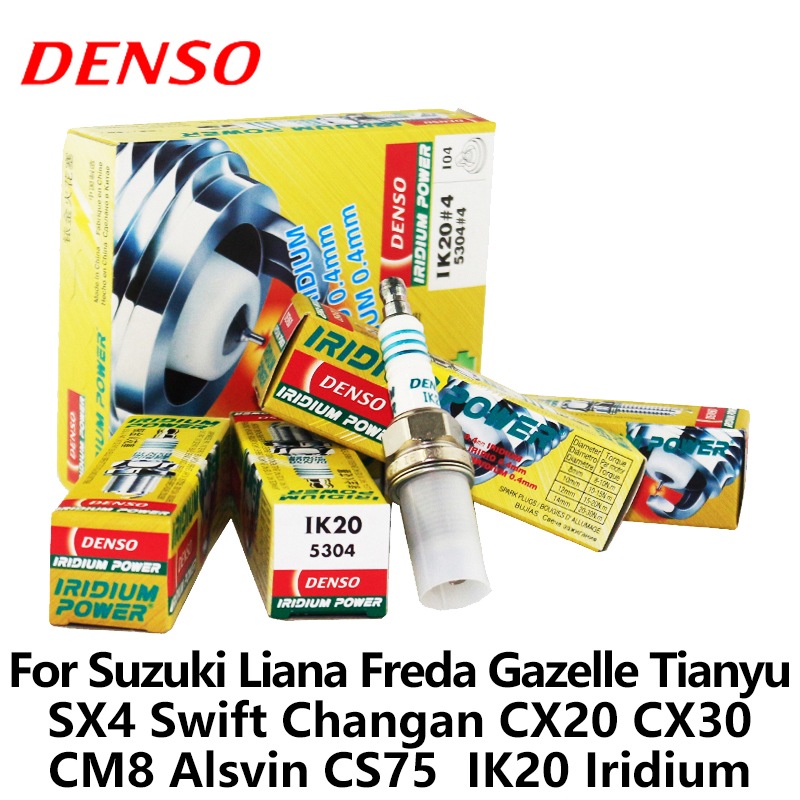 Bougie d'allumage de voiture DENSO 4 pièces/ensemble pour Suzuki Liana Freda Gazelle Tianyu SX4 Swift Changan CX20 CX30 CM8 Alsvin CS75 IK20 Iridium