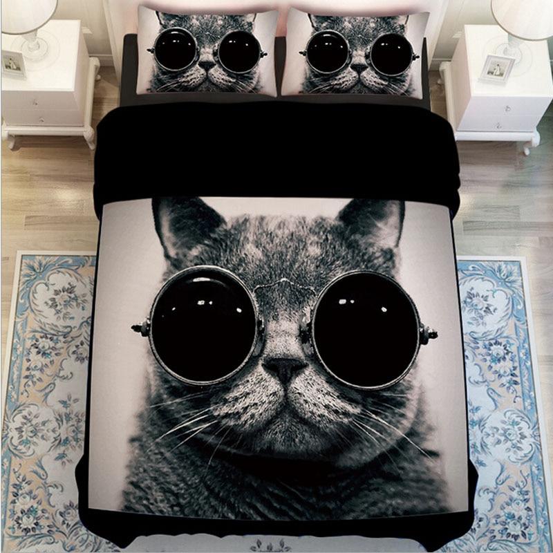 Buy Black And White Cat Print Bedding