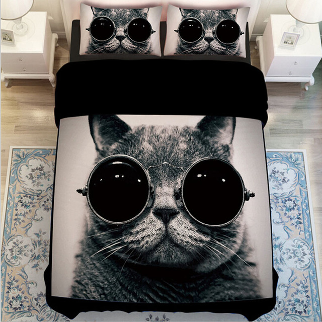 black and white cat print bedding sets twin queen king size duvet cover set bed sheets