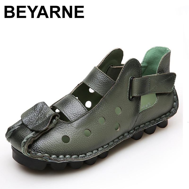 2018 Summer New Soft Bottom Flat Genuine Leather Women Shoes Personality Leisure Women Sandals Retro Handmade Sandals sapato xiuteng new summer thick high heels sandals genuine leather women shoes flower personality leisure women handmade sandals sapato