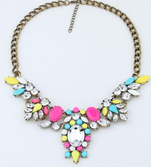 Joyería de la estrella de moda 6 colores marca flor choker collares de diamantes de imitación