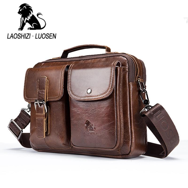 LAOSHIZI LUOSEN из натуральной кожи Для мужчин сумка сумочка Винтаж коровьей Crossbody сумка Бизнес Повседневное Для мужчин сумка