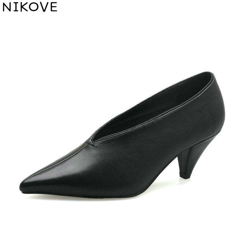 NIKOVE 2018 Women Pumps Spike Heels Slip on Sheepskin PU High Heels Pointed Toe Sewing Fashion Ladies Pumps Shoes Size 34-39 2017 solid black winter spring women shoes slip on pointed toe spike high heels ankle boots women free ship size 9 12