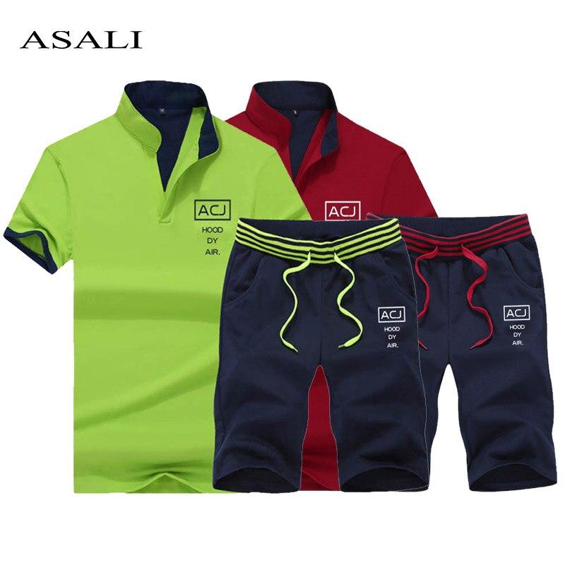 2019 Marke Männer Trainingsanzug Zwei Stück Set Mode Männlichen Casual V-ausschnitt T Shirt Shorts Jogger Sets Männer Sportswear Anzug Sommer 4xl Online Shop