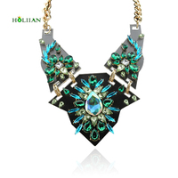 Women Za Brand Flowers Chokers Necklace 2016 Statement Multiflorus Colorful Aulic Pendant Necklace Emerald Luxury Collar