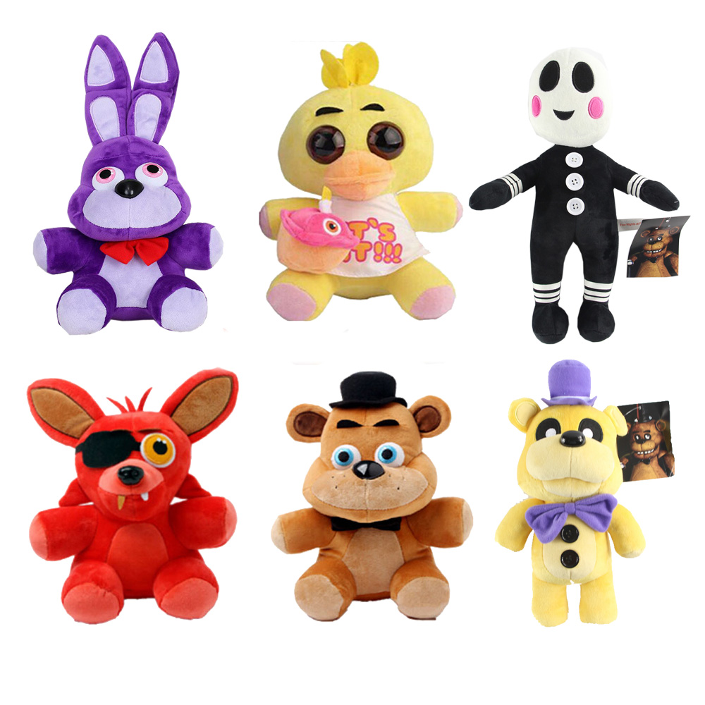 цены  Five Nights at Freddy 25cm Size Bear & Fox & Duck & Rabbit & Clown Kids juguetes Plush Toys WJ506