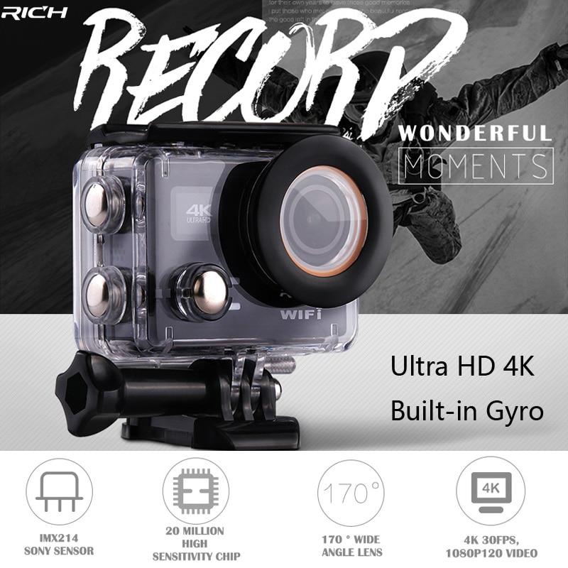 RICH Action Camera Ultra HD 4K 30FPS 12MP Wifi IPX8 Waterproof 45M Built-In Gyro Externa ...