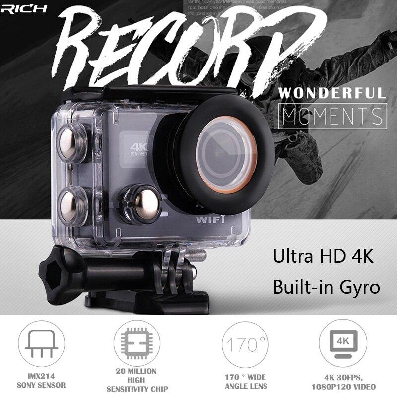 RICH Action Camera Ultra HD 4K 30FPS 12MP Wifi IPX8 Waterproof 45M Built-In Gyro External Microphone Sports Camera тв модуль ci триколор k m evr единый ultra hd европа