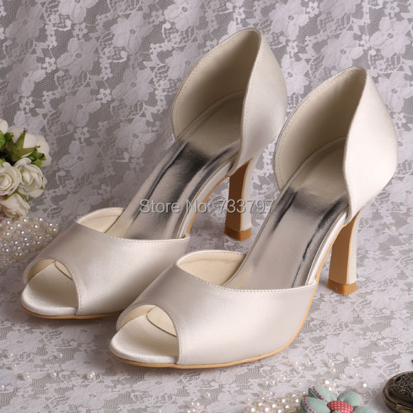 (20 Colors)Custom Handmade 9CM Peep Toe Heels for Wedding Ivory Satin New Style