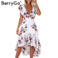 BerryGo Floral Print Ruffles V Neck Summer Long Dress Backless Tie Up Mermaid Dress Women Elegant